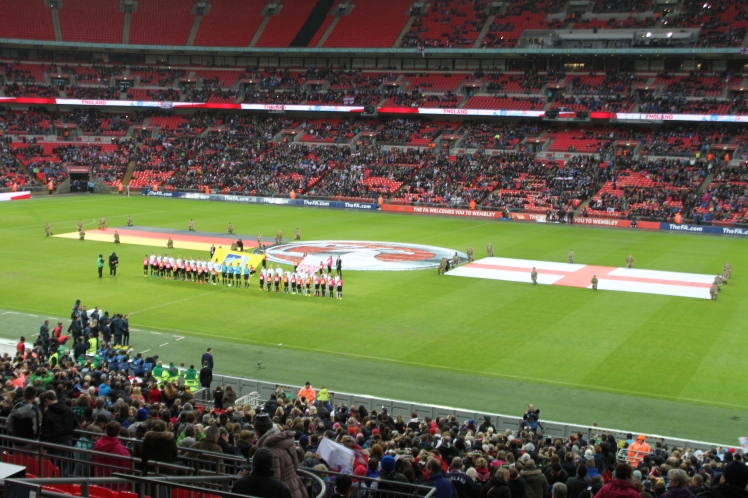 The teams line up for the national anthems (Photo courtesy: Jaideep Vaidya)